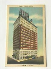 Postcard GA Atlanta Robert Fulton Hotel Amenities Lucky Cone St 1930's 1940's