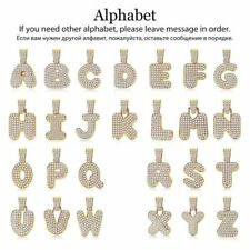 Bubble Letter A to Z Alphabet FULL Rhinestone Pendant Gold Filled