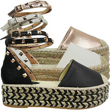 NEW WOMENS LADIES MID LOW WEDGE FLATFORMS ESPADRILLES SUMMER SANDALS SHOES SIZE