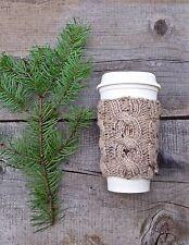 Coffee Cozy in Tan Tweed, Coffee Sleeve, Coffee Cup Cozy, Coffee Cup Sleeve