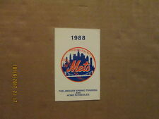 MLB New York Mets Vintage Circa 1988 Logo Baseball Pocket Schedule