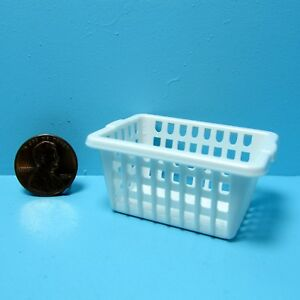 Dollhouse Miniature Plastic Laundry Clothes Basket in White  IM65295
