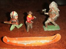 American Wild West Lead Figures + Canoe. Different Scales. Unbranded.