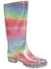 Ladies Wellies Rainbow Glitter Sparkle Festival Size 4 to 7 New Ex Store Rain