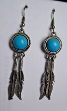"""Dangle/Drop Earrings 2 7/8"""" Long Silvertone Metal Faux Turquoise And Feather"""