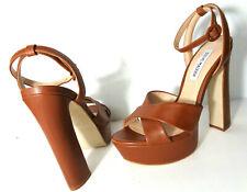 STEVE MADDEN Martina US 7M Brown Leather Platform High Heel Ankle Strap Sandals