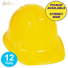 CONSTRUCTION WORKER 12 PLASTIC YELLOW HATS KIDS BUILDER PARTY CHILDS COSTUME