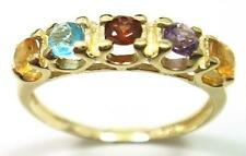 GORGEOUS 9CT SOLID YELLOW GOLD 5 STONES MULTI GEMSTONES RING SIZE N  R807