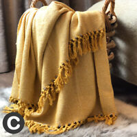 Luxury Ochre Yellow Mustard Herringbone Throw 100% Cotton Fringed Bed Sofa