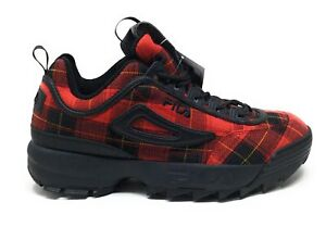 FILA Womens Disruptor II Plaid Fitness Athletic Sneakers Red Black Size 7 M US