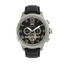 Heritor Automatic Hudson Semi Skeleton Black Leather Silver Watch w/ Date HR7502