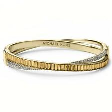 Michael Kors Gold-Tone Pavé Hinge Bangle Bracelet MKJ3691710 MSRP $165