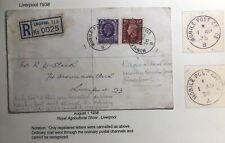1938 Liverpool England Mobil Post Office Registered Cover Locally Used