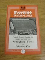 22/04/1961 Nottingham Forest v Leicester City  (Light Fold). We try and inspect