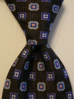 CANALI Men's 100% Silk XL Necktie ITALY Luxury Designer Geometric Gray/Blue EUC