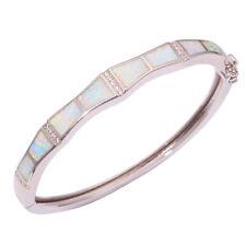 """White Fire Opal Zircon Silver Women Jewelry Gems Bangle Bracelet 8 3/8"""" OS477"""