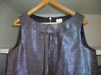 WHISTLES BLACK SILVER SLEEVELESS 60'S STYLE PARTY DRESS - SIZE 12