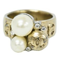 CHANEL Coco Mark Ring Band Imitation Pearl Gold Plated White France US 7.0 JP 13