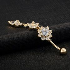Flower Crystal Gold Steel Dangle Belly Button Navel Bars Ring Body Piercing