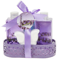 Lavender Gift Basket for Women Body Lotion Bubble Bath Shower Gel & Bath Bomb