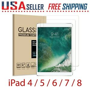 2 Pack For Apple iPad 8 / 7 / 6 / 5 / 4 Gen Tempered GLASS Film Screen Protector