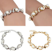 Fashion Women Pearl Crystal Bangle Charm Bracelet  Gold Silver Plated Jewelry