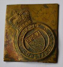 More details for norfolk constabulary cap badge trial strike - very rare item - 5cm x 4.5cm