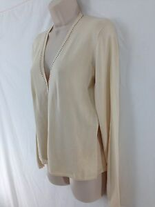 NEW Finity Studio San Francisco Womens M Ivory Silk/Spandex Cardigan Sweater
