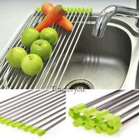 Stainless Roll Kitchen Sink Storage Dish Drainer Fruit Dry Shelves Rack Holder