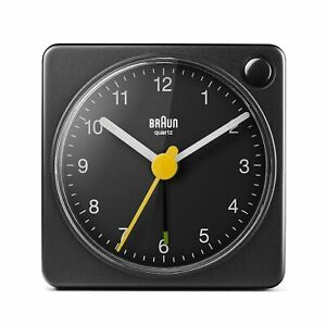 Braun Classic Travel Analogue Clock with Snooze and Light, Compact Size BC02XB
