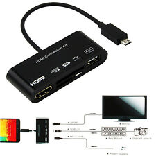 5in1 Micro USB MHL to HDMI HDTV Adapter + USB OTG SD Card Reader Connection Kit