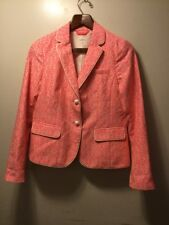 Gap Women's The Academy Blazer - Size 4 Bright Pink White Geometric Jacket