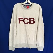 FCB Nike Mens Sweatshirt L Large Off White Sport Football Soccer Organic Cotton
