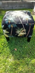 Vibrant Multicolored Palms Ethan Allen Ottoman Footstool Bench Seat