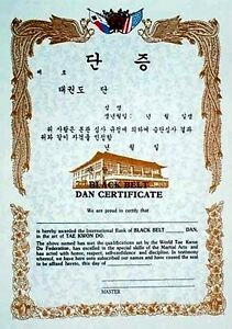 Black Belt Martial Arts WTF Dan Tae Kwon Do Rank Certificates - New