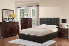 Faux Leather Espresso Modern Queen Size Bed Bedroom Mirror Dresser Nightstand