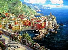 "SAM PARK ""VERNAZZA"" Hand Embellished & Signed Giclee on Canvas Limited Edition!"