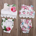 Cute Baby Girl Lace Flower Tops Shirt+Briefs PP Pants 2pcs Outfits Set Costume