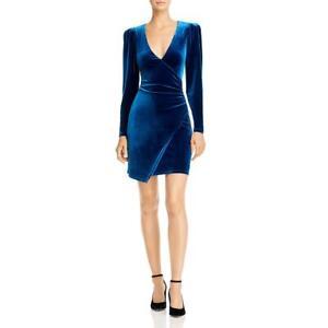 BCBGMAXAZRIA Womens Velvet V Neck Asymmetric Cocktail Dress BHFO 4721