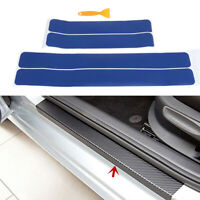 4Pcs/set Blue car door sill scuff welcome pedal protect carbon fiber stickers&p