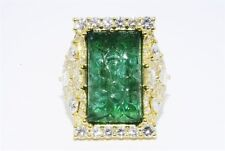 $34,500 17.66CT NATURAL HAND CARVED EMERALD & DIAMOND COCKTAIL RING 18K GOLD