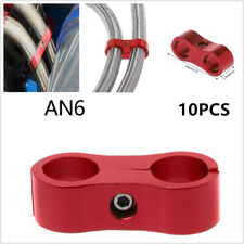 10Pcs Car 14mm AN6 Braided Hose End Clamps Oil Gas Fuel Line CNC Separator Red
