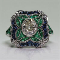 Retro White Sapphire Silver Plated Women Wedding Jewelry Ring Gift Sz 6-10