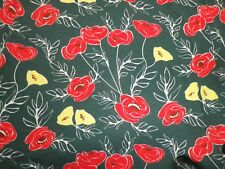 Vintage Stretch Cotton Jersey Dress Making Fabric Green Red Yellow Poppies