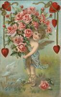 Valentine Cupid w/ Armful of Roses c1910 Embossed Postcard