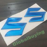 "Motorcycle Blue Emblem Badge 3D Decal Tank Wheel Logo ""S"" Sticker for Suzuki"