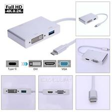USB 3.1 Type C to 4K HD HDMI VGA DVI USB 3.0 Female Adapter for Macbook Laptop