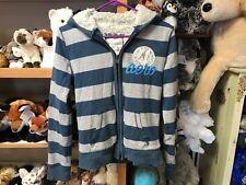 Aeropostale M striped zip faux fur lining HOODIE sweatshirt jacket blue Aero