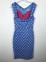 Lindy Bop Dress Size XS Blue White Pink Polka Dot Retro vtg 50s style Wiggle