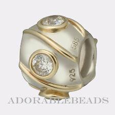 Authetic Chamilia Silver & 14kt Gold Quartz Swirl Bead KD-33